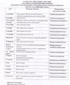 Календарь единых действий РДШ